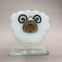 Figurka - Baranek biały z brążowym pyszczkiem
