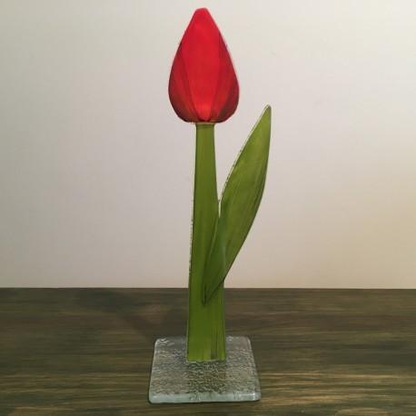 Szklany kwiat na podstawie 01 (ok 26cm)