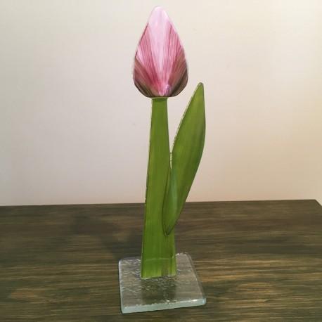 Szklany kwiat na podstawie 02 (ok 26cm)