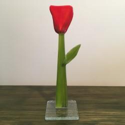 Szklany kwiat na podstawie 06 (ok 26cm)