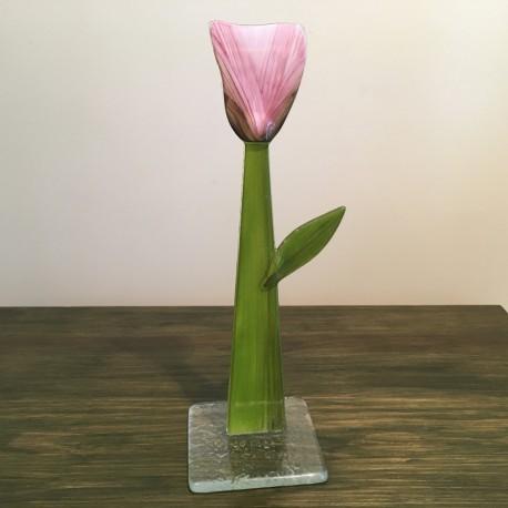 Szklany kwiat na podstawie 07 (ok 26cm)