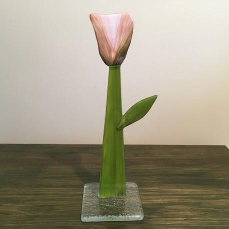 Szklany kwiat na podstawie 09 (ok 26cm)