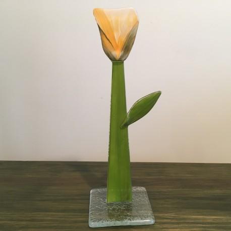 Szklany kwiat na podstawie 10 (ok 26cm)