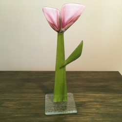 Szklany kwiat na podstawie 12 (ok 26cm)