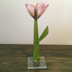 Szklany kwiat na podstawie 14 (ok 26cm)