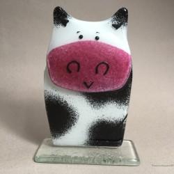 Figurka Krowa biało czarna z różowym nosem